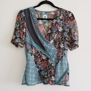 Tiny World Mixed Media Wrap Blouse